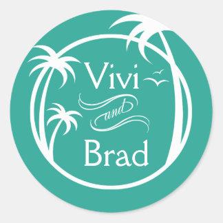 Beach Surf Palm Logo   aqua Classic Round Sticker