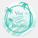 Beach Surf Palm Logo | aqua Round Stickers