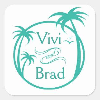 Beach Surf Palm Logo aqua Sticker