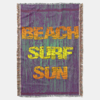 Beach Surf Sun Throw Blanket