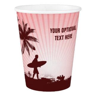 Beach Surfer custom text paper cups