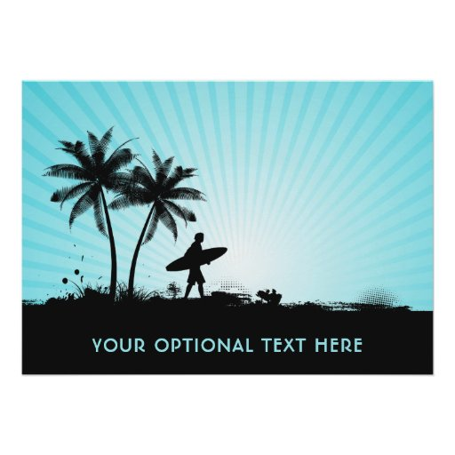 Beach Surfer custom text poster