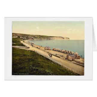 Beach, Swanage, England rare Photochrom Card