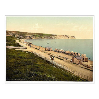 Beach, Swanage, England rare Photochrom Postcard