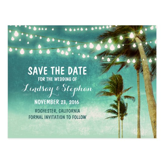 beach teal ombre save the date postcards