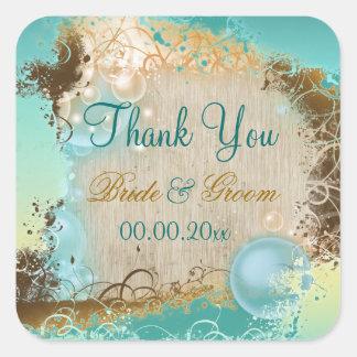 "Beach ""thank you"" wedding aqua white square sticker"