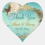 "Beach ""thank you"" wedding aqua white heart stickers"