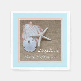 Beach Theme Bridal Shower Paper Napkins Standard Cocktail Napkin