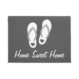 Beach theme door mat with flip flops and quote