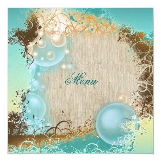 "Beach theme menu elegant party 5.25"" square invitation card"