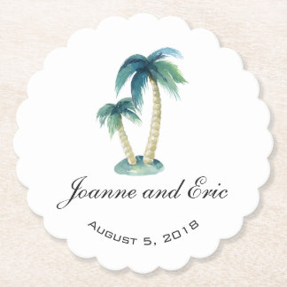 BEACH THEME PALM TREE wedding pub custom coaster