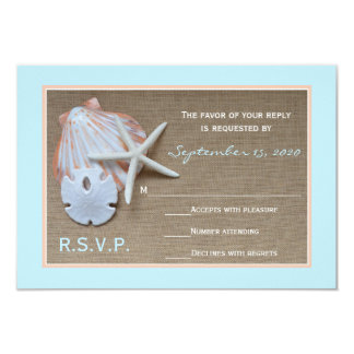 Beach Theme RSVP Wedding Invitation