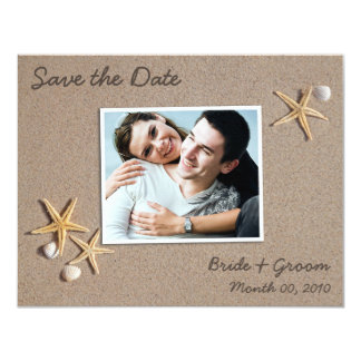 "Beach Theme Save the Date Photo Cards 4.25"" X 5.5"" Invitation Card"