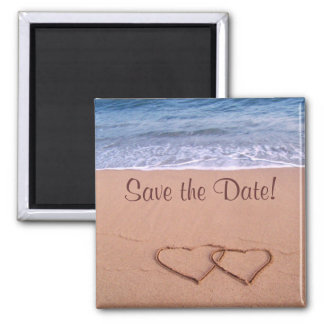 Beach theme save the date! square magnet