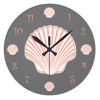 Beach Theme Scallop Shell Large Clock
