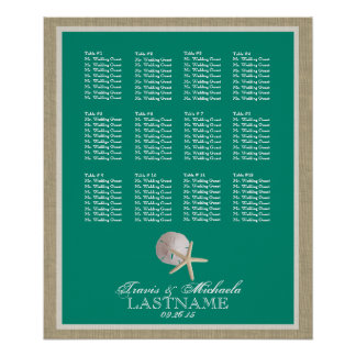 Beach Theme Seat Chart with Changeable Color