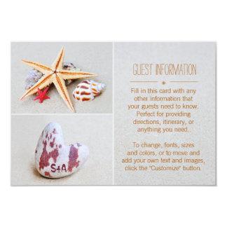 Beach Theme Starfish and Heart Wedding Guest Info 9 Cm X 13 Cm Invitation Card
