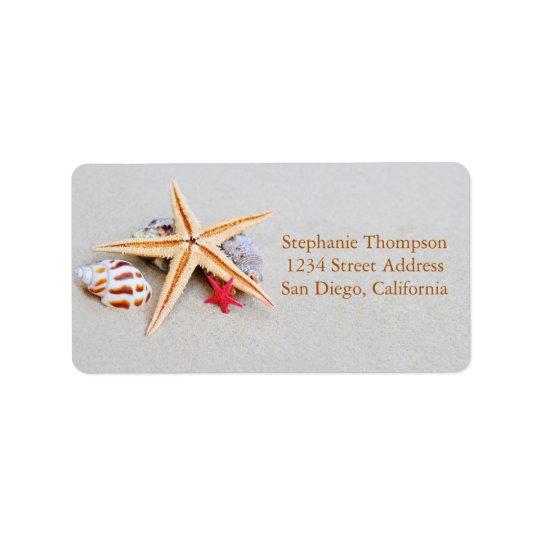 Beach Theme Starfish and Seashell Address Label