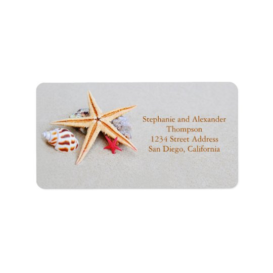 Beach Theme Starfish and Seashell Address Label