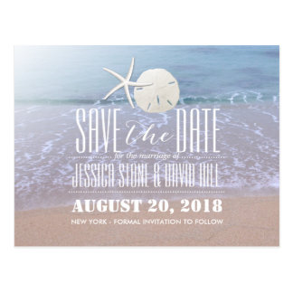 Beach Theme Starfish & Sand Dollar Save the Date Postcard
