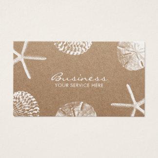 Beach Theme Starfish & Seashells Rustic Kraft Business Card