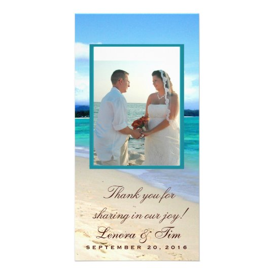 Beach theme thank you photo card
