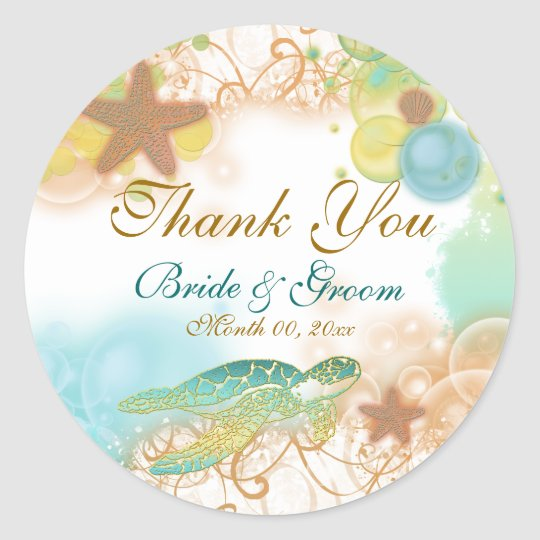 "Beach theme ""thank you"" wedding birthday classic round"