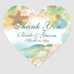"Beach theme ""thank you"" wedding birthday heart stickers"