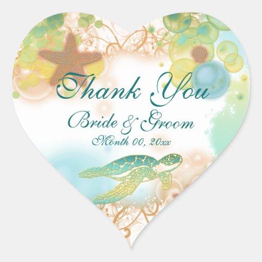 "Beach theme ""thank you"" wedding birthday stickers"