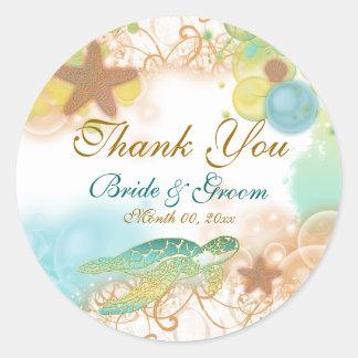 "Beach theme ""thank you"" wedding birthday round sticker"
