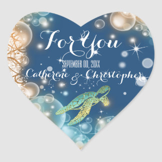 """Beach theme wedding favor """"For you"""" Heart Stickers"""
