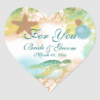 """Beach theme wedding favor """"For you"""" Stickers"""