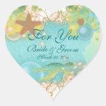"Beach theme wedding favour ""For you"" Heart Sticker"