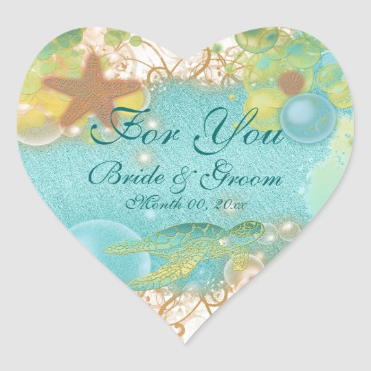 "Beach theme wedding favour ""For you"" Heart Sticker"