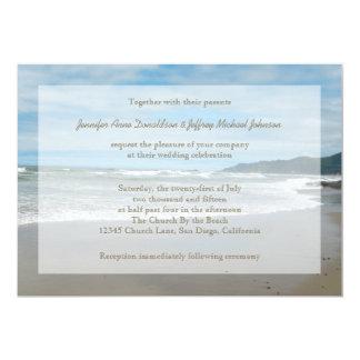 "Beach Theme Wedding Invitations, Sandy Beach 5"" X 7"" Invitation Card"