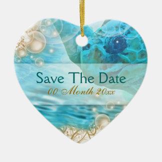 "Beach theme wedding ""save the date"" turtle ceramic heart decoration"