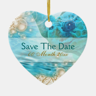 "Beach theme wedding ""save the date"" turtle christmas ornament"