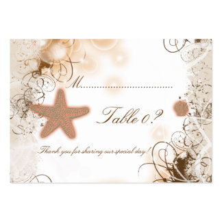 Beach theme wedding ~ table number card business cards
