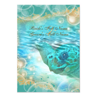 Beach theme wedding turtle blue 13 cm x 18 cm invitation card