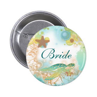 Beach theme wedding turtle bride 6 cm round badge