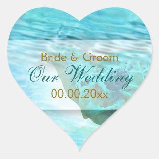 Beach theme wedding turtle PERSONALIZE Heart Sticker