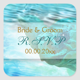 Beach theme wedding turtle RSVP Square Sticker