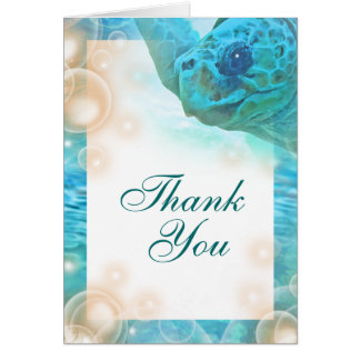 "Beach theme wedding turtle ""thank you"" card"