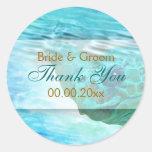 "Beach theme wedding turtle ""thank you"" round sticker"