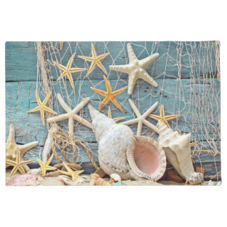 Beach Themed Conch Shell, Starfish & Fishing Net Doormat