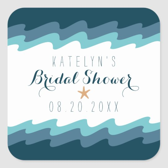 Beach themed Favour Stickers - Bridal - Blue