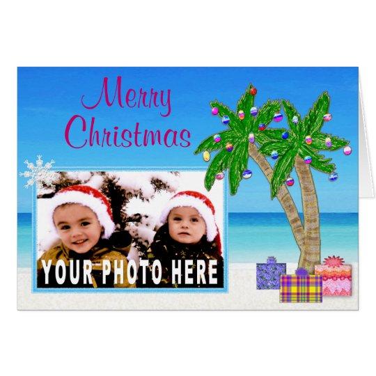 Beach Themed PHOTO Insert Christmas Cards