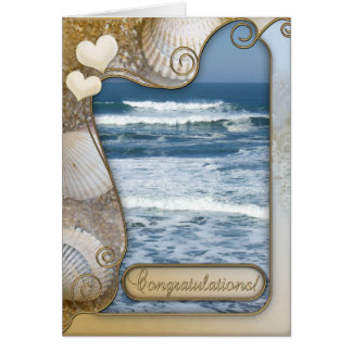 Beach Themed Wedding Congratulations Card