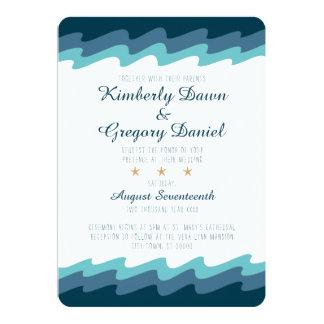 Beach Themed Wedding Invitation - Blue Wave