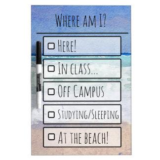 Beach Themed Where Am I? Dry Erase Board
